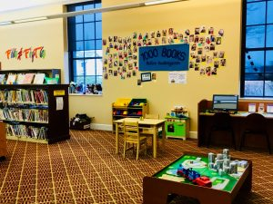 view of the children's department and its toy space for young patrons at Petoskey District Library